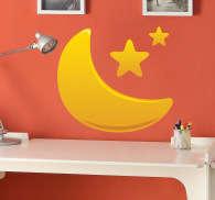 Wandtattoo Mond und Sterne Kinder - TenStickers