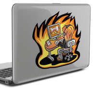 Sticker pc portable feu informatique