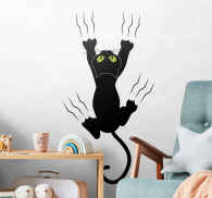 Sticker enfant chat sur le mur