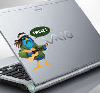 Sticker PC portable hippie tweet