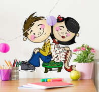 Sticker couple assis