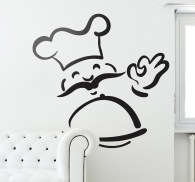 Adhesivo decoración chef sonriente