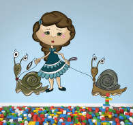 Kids Snail Girl Wall Sticker
