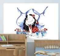 Kids Donkey Lady Wall Mural