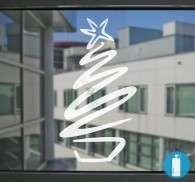 Sticker sapin noel neige pochoir