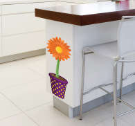 Decoratie Sticker Zonnebloem in Pot