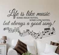 Life is Like Music Muursticker