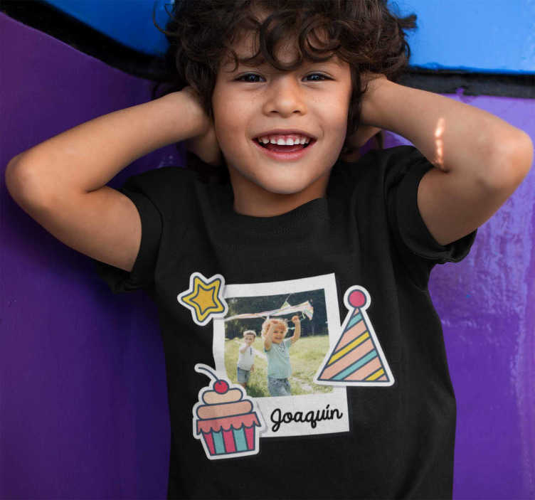 TenStickers. Children's birthday t-shirt with photo. Great kids birthday t-shirt for boys and girls. A very colorful design so that your children can celebrate a special day with a special t-shirt.
