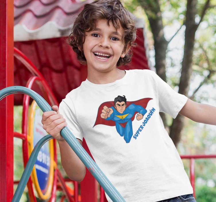 TenStickers. Kids t-shirt Superman with a name. Your children are superheroes! Tell them they are amazing and ready to achieve amazing things by ordering this funny t-shirt with a flying superman!