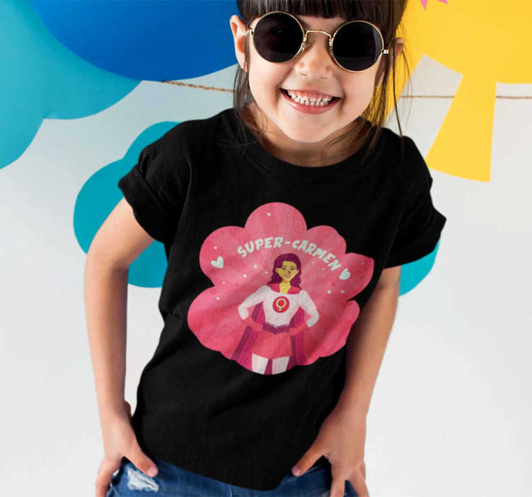 TenStickers. Superwoman for girl with name kids t-shirt. Great superheroin T-shirt for girls that you can personalize with the name of the lucky girl. A top quality children's T-shirt for the little ones.