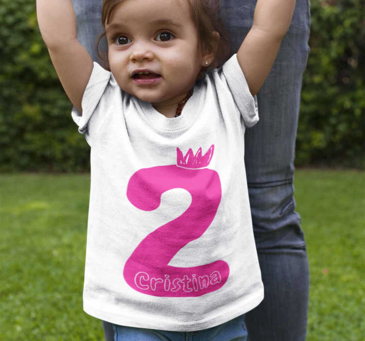 TenStickers. Birthday t-shirt for boy or girl. Beautiful birthday t-shirt for boy or girl with the number you want in pink. An ideal garment to dress the little ones on the day of their birthday.