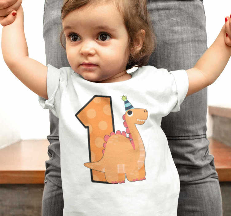 TenStickers. Baby Birthday Dinosaur t-shirt. Nice dinosaur baby's birthday t-shirt. Choose with the little one of the house the t-shirt that will dress the day of their birthday.