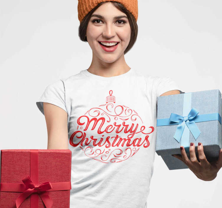 "TenStickers. Merry Christmas decorative t-shirt. Christmas T-shirt with the text ""Merry Christmas"". This family christmas t-shirt will look great and will please everyone who sees it."
