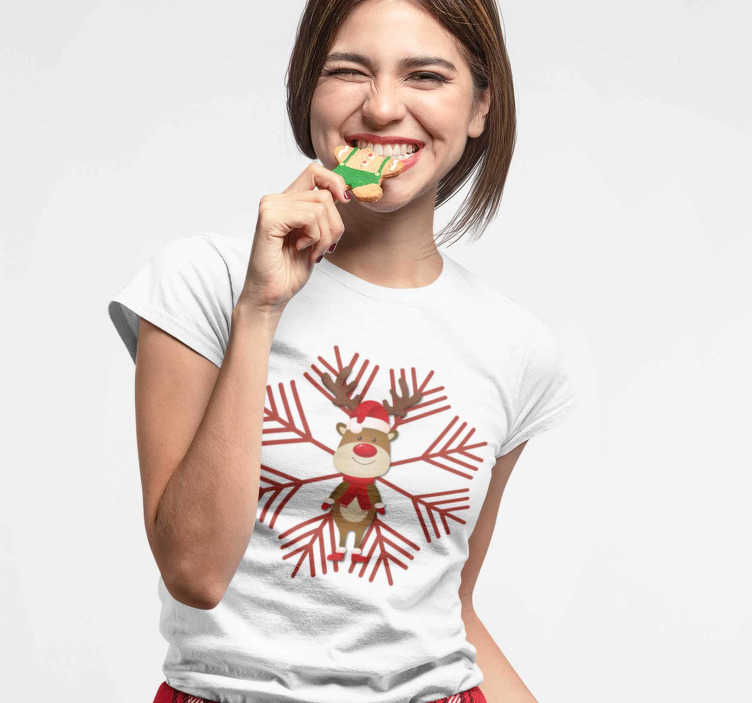 TenStickers. Reindeer and Flake  Christmas t-shirt. A great design of a Christmas reindeer with a snowflake in the background on a T-shirt.  A nice combination to wear during these special dates.