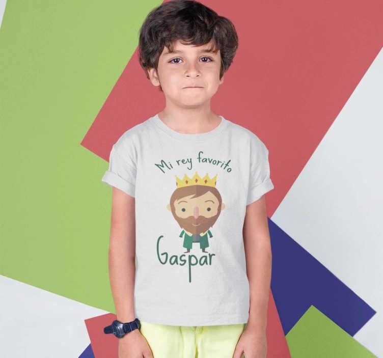 TenVinilo. Camiseta de Navidad Rey Gaspar. Camiseta navideña del rey gaspar para vestir a los niños y niñas en estas fechas tan especiales, estas fechas que están nerviosos.