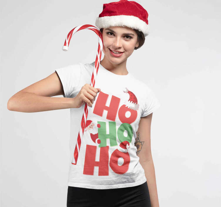 TenStickers. Santa Claus t-shirt Christmas. Funny Santa Claus T-shirt with the text Ho Ho Ho.  In each of the words there is a Christmas hat or a Santa Claus sticking out.