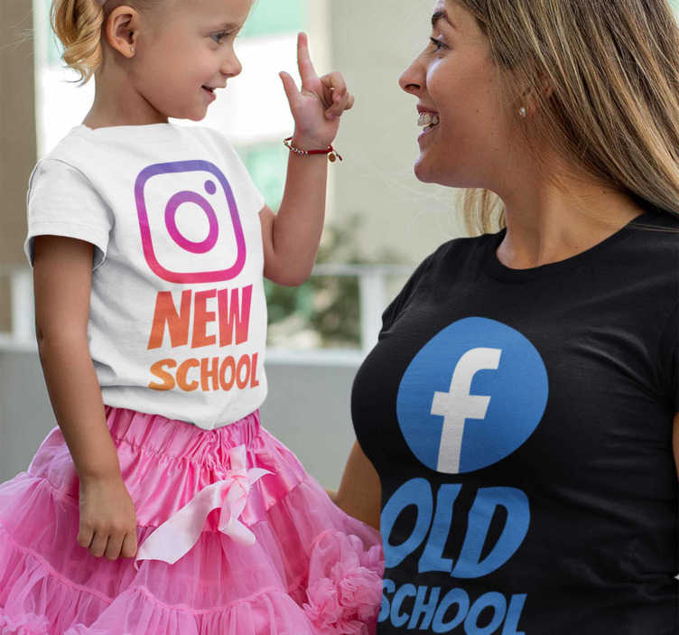 TenStickers. Instagram and  Facebook parents kids t-shirt. Great t-shirt kit for mothers and daughters or fathers and sons t-shirts with the Instagram and Facebook logos. You will love this!
