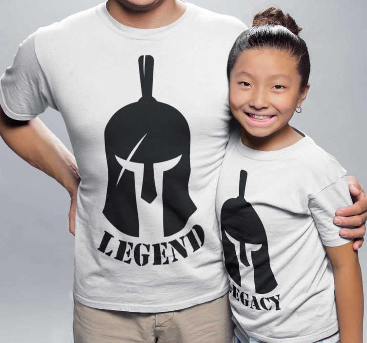 TenVinilo. Camisetas para padres e hijos Legend and Legacy. Camisetas guerreras para vestir iguales padres e hijos, un conjunto de prendas casi iguales para diferenciar quién es el padre o madre y el hijo.