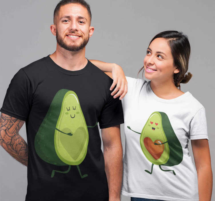 TenStickers. Happy avocados Couple t-shirt. A fun combination of matching t-shirts for couples. Ideal to give your partner on Valentine's Day and to show how much you love him/her