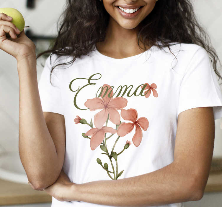 TenStickers. Beautiful flower with name t-shirt. Show your love for flowers with this beautiful flower with name t-shirt, with beautiful pink colors. A cool t-shirts that will amaze everyone.