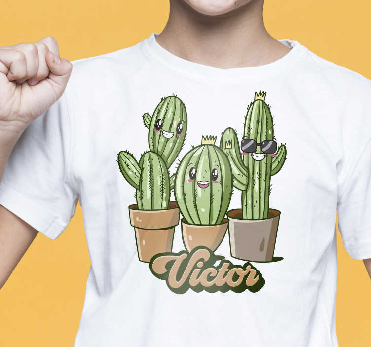 TenStickers. Cactus Family Kids t-shirt. Here we offer a nice and funny cactus family kids t-shirt that will surely make your kids laugh.Expand the wardrobe of your kids