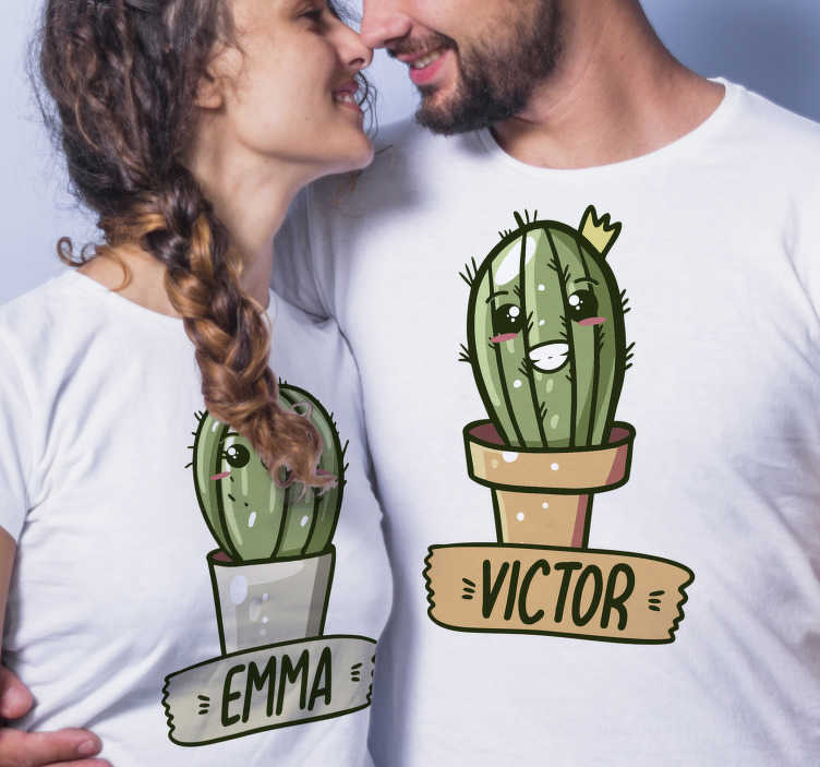 TenStickers. Cactus you and me Couple t-shirts. With this beautiful and unique pair of funny couple t-shirt with a personalized name, you would surprise everyone you meet on the street.