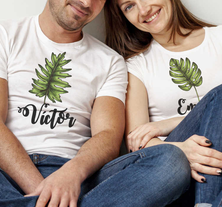TenStickers. Couple t-shirt of leaves with name. With this beautiful and unique pair of funne couple t-shirt, you would surprise everyone you meet on the street . Amaze everybody!