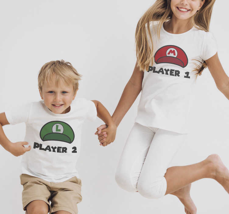 TenStickers. Player one and player two kinds t-shirt. This funny children's t-shirt is something you should definitely have at home! Don't miss your chance and separate your children from the rest!