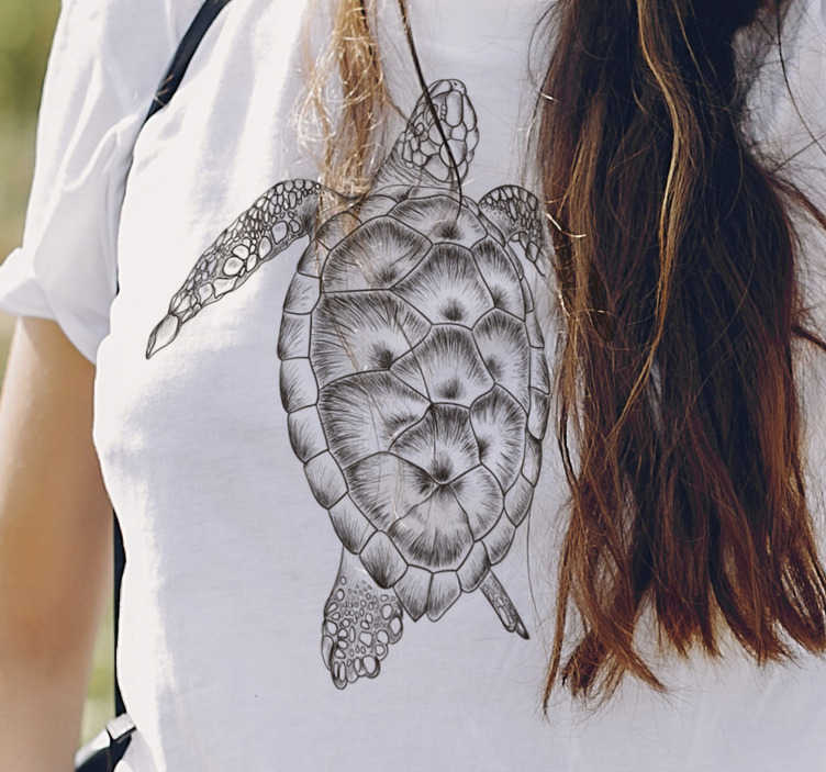 TenStickers. Hand drawn turtle t-shirt. Hand-drawn black and white women's t-shirt with fine finishes. This turtle t-shirt is a very unique design and very high quality.