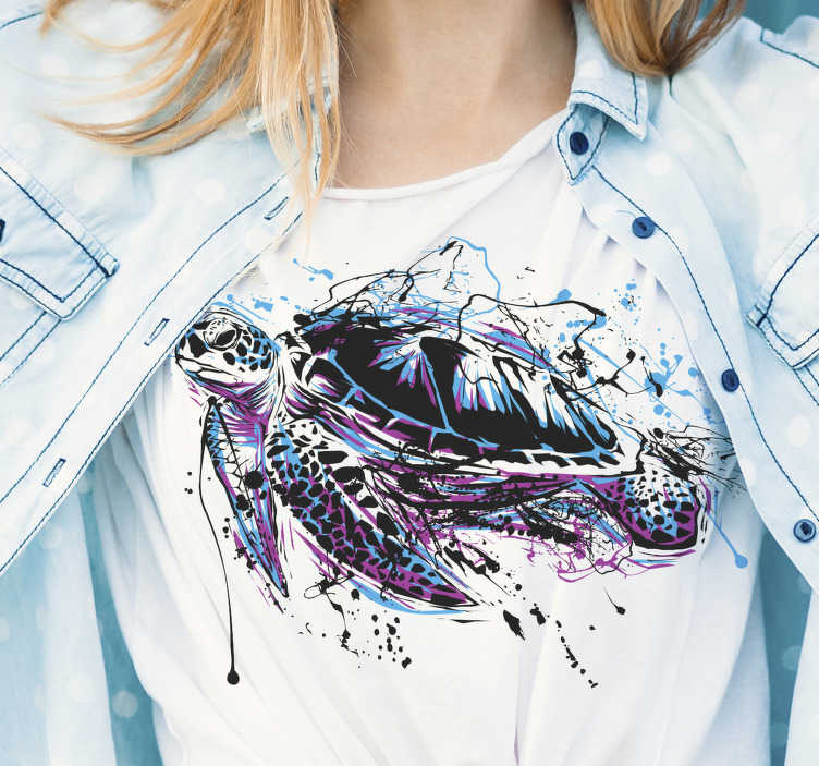 TenStickers. Paint art turtles women t-shirt. With this women t-shirt you will definitely stand out wherever you go. It is easy to iron and does not wear out. You will love it!