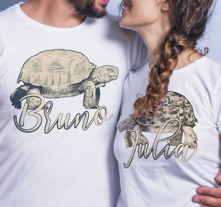 TenStickers. Turtles with name Couple shirts. This beautiful and unique pair of turtle t-shirts for couples depicting a turtle, gives you the opportunity to enter a personal name.