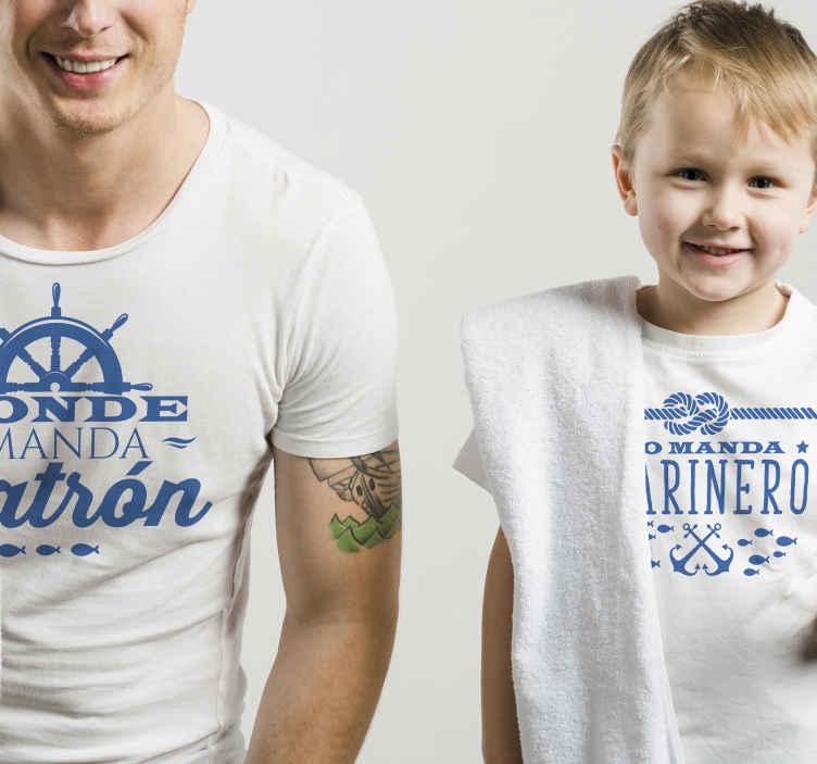 TenVinilo. Camiseta padre e hijo donde manda patrón. Una camiseta papá y bebé para disfrutar de una salida encantadora y un atuendo interior con diversión. Elige tala ¡Envío a domicilio!
