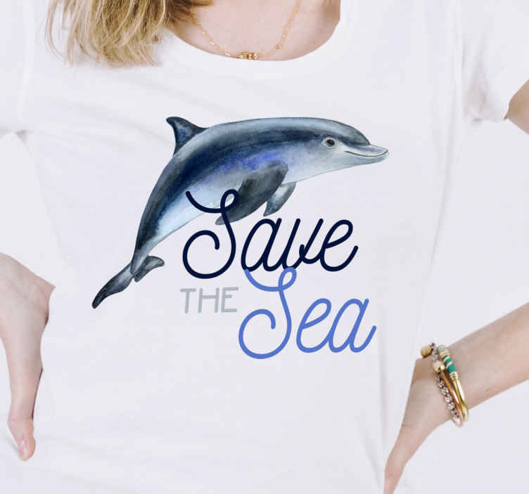 TenStickers. Save the sea t-shirt. Save the sea text with fish t-shirt prints.  A lovely and easy to wear t-shirt to showcase awareness and protection of sea-life.