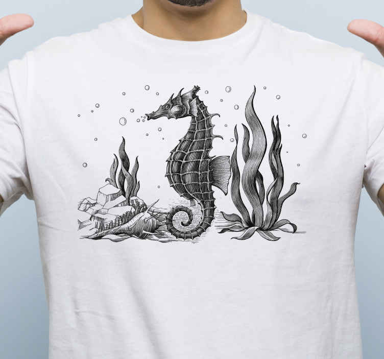 TenStickers. Searhorse hand draw. Simple t-shirt you can use for you unofficial outfit and feel comfortable and happy with. It is designed with an hand drawn seahorse.