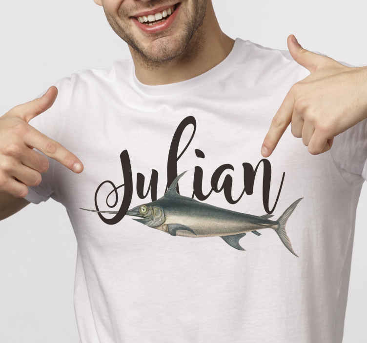 TenStickers. Swordfish with name t-shirt. Nice looking t-shirt for you casual days out fit with customisable name. It is comfortable to use and available in different sizes.