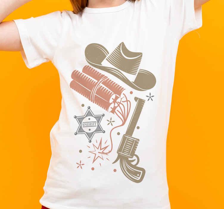 TenStickers. 牛仔元素图案t恤设计. 从我们收集的牛仔主题t恤目录中获得惊人的t恤设计。它印有不同牛仔元素的设计。
