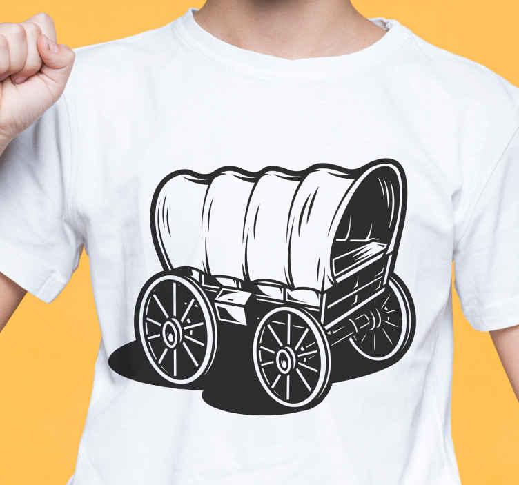 TenStickers. Cowboy wagon style t-shirt. A cowboy wagon t-shirt design to flag as a cowboy and lover of western style. The product is made of good quality and easy to maintain.