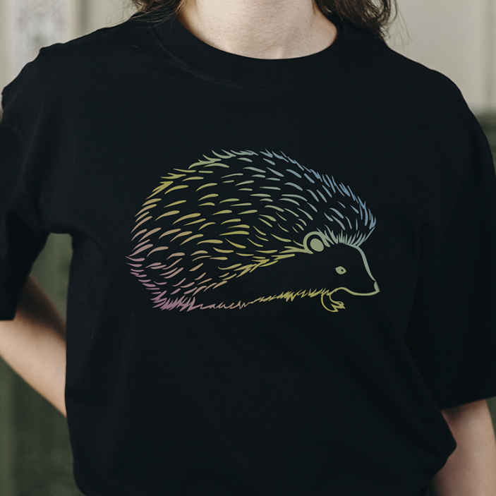 TenStickers. Porcupine drawed in lines t-shirt. Looking for a simple casual t-shirt with special design print to rock your day? here is a perfect fit for you . It is easy to maintain.