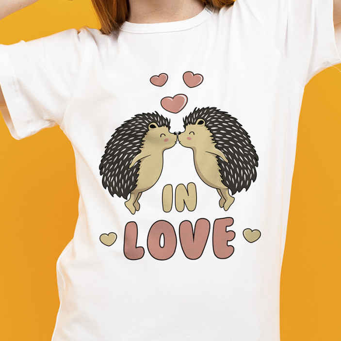 TenStickers. Porcupine in love t-shirt. Love text design t-shirt to rock all your amazing simple pair of jean, shorts, skirts and pants.  It is really easy to clean and feels comfortable.