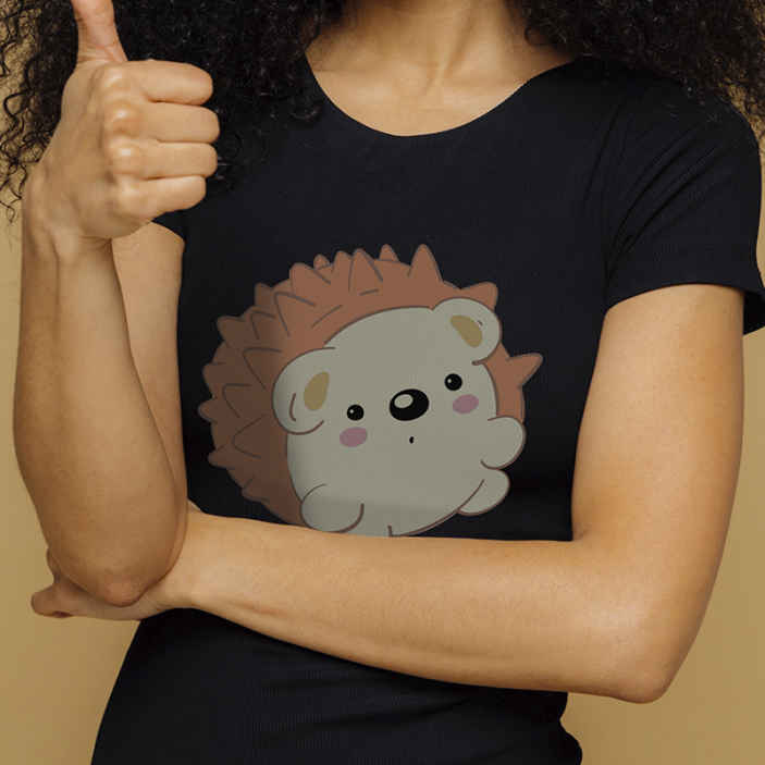 TenStickers. Porcupine pattern t-shirt. Amazing casual t-shirt for your simple day out!  Use our quality design t shirt on your nice pair of jean or pants and feel super.
