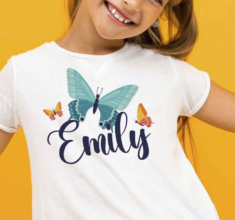 TenStickers. Bicolor butterflies t-shirt for children. Amazing custom name kids t-shirt  for your young kid. It is customizable with name and it has multicolored butterflies printed on it.