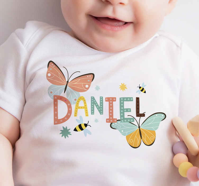 TenStickers. butterflies and bees Baby t-shirt. Personalized babies t-shirt to wear on your toddler and young ones. It is customizable with name and it has colorful butterflies printed on it.