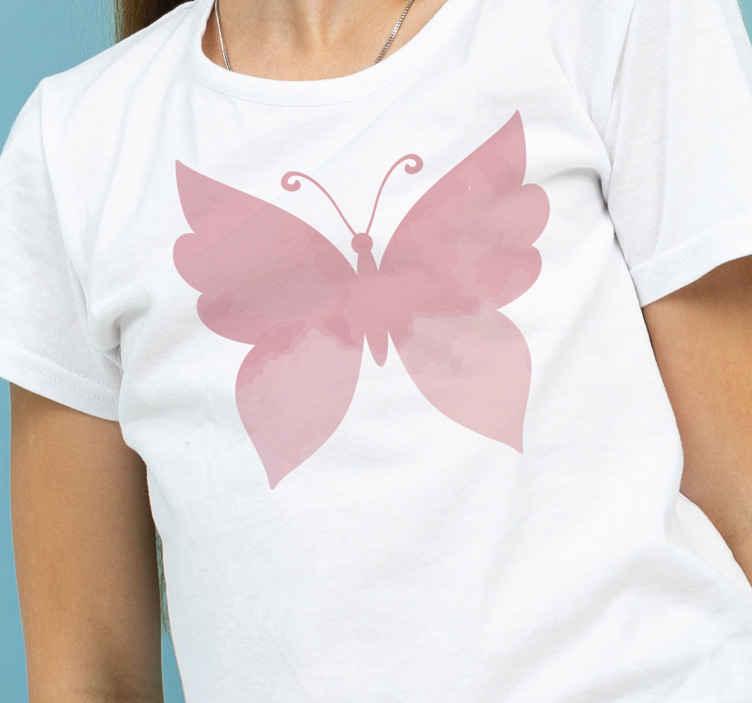 TenVinilo. Camiseta de mujer mariposa rosa. Camiseta de mujer de alta calidad con mariposa de color rosa para que vistas a tu propia moda. Elige talla ¡Envío a domicilio!