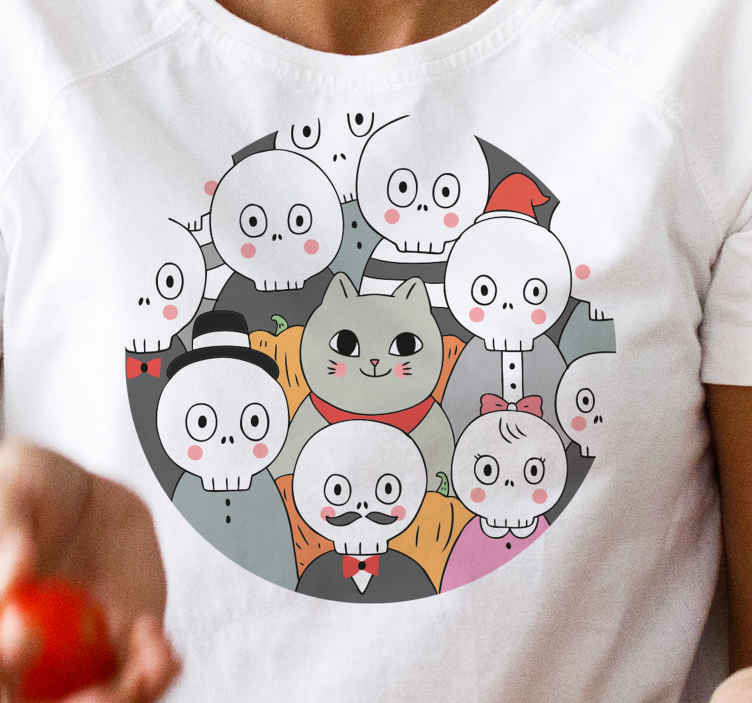 TenStickers. funny skeletons Halloween t-shirt. Simple happy Halloween shirt for kids. The shirt is featured with different happy emoji faces depicting happy skeletons.