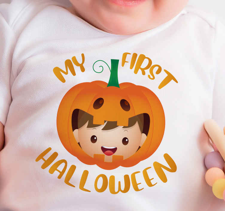 TenStickers. my first halloween baby t-shirt Halloween t-shirt. Purchase this first Halloween t-shirt design for your toddler celebrating the first Halloween. Cute t-shirt design for your baby that you would love.