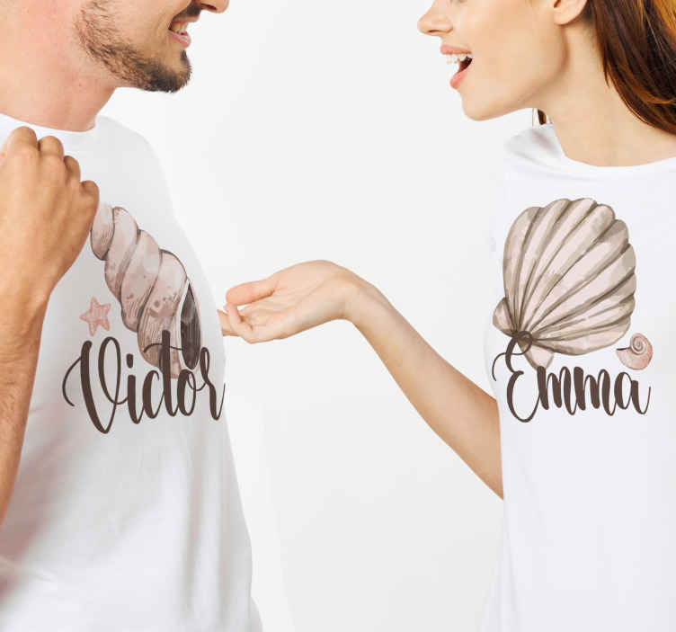 TenStickers. seashells matching shirts for couples. Our casual t-shirts for couples are easy to care! You can choose the size which suits you the most from the size list we have. !Home delivery !