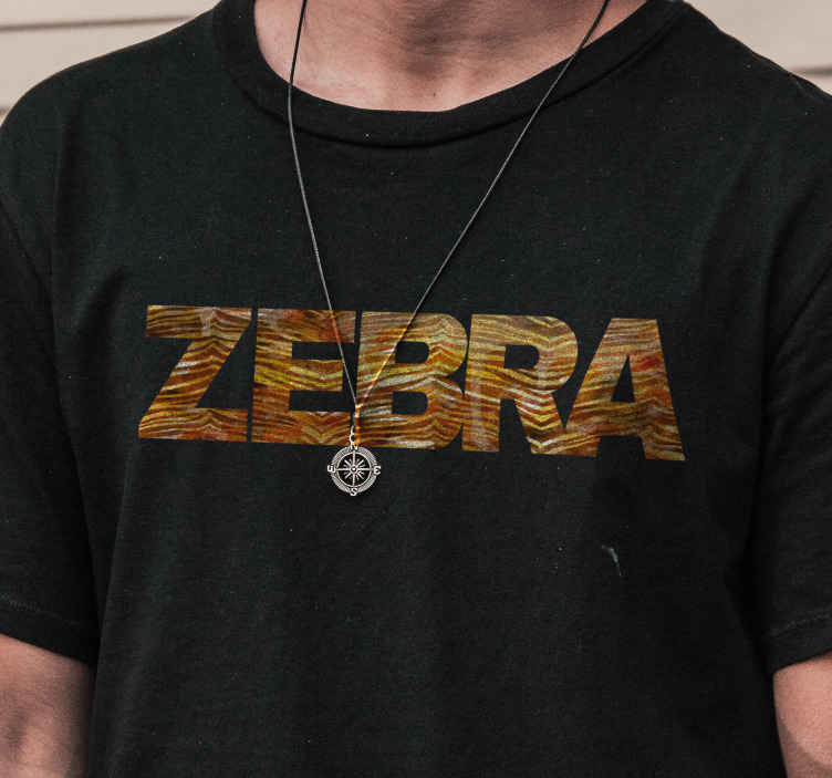 TenStickers. Zebra with Zebra Print T-Shirt. Zebra T-shirt which features the word zebra in brown zebra print. High quality product. Discounts available. Worldwide delivery.