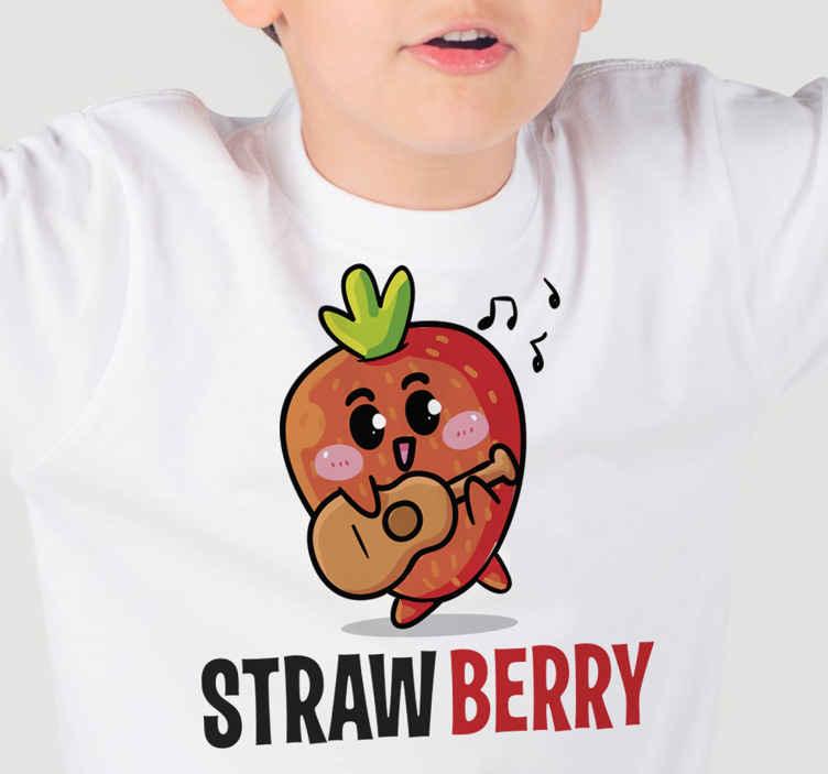 TenStickers. Jagodna majica otroška majica. Kako čudovit dekorativni element na teh kul majicah za fante! Dodajte ga v košarico, če ga želite kupiti prek spleta in ga prejeti v nekaj dneh!