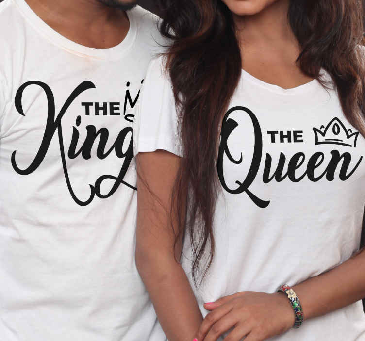 TenStickers. King and Queen matching shirts for couples. Couple T-shirt set which features two T-Shirts, one saying 'The King' and the other saying 'The Queen' with crowns next to them.