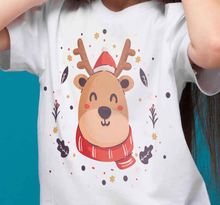 TenStickers. Karácsonyi szarvas karácsonyi pólók. élvezze a karácsonyi boldogságot és örömöt ezzel az egyszerű és csodálatos karácsonyi póló kialakítással hölgyeknek. Házhozszállítás